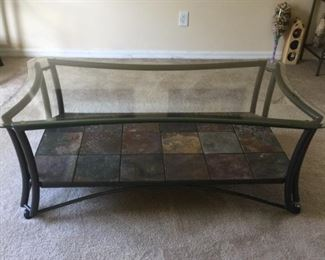 Glass-topped, Slate bottomed Coffee Table
