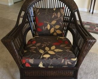 Brown Wicker Chair with Cushion and Pillow