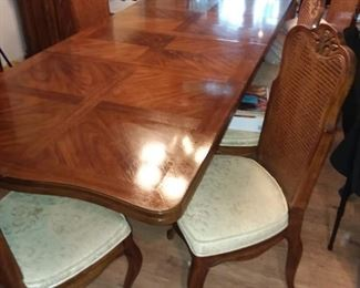 Drexel French Country table with leaves inserted.