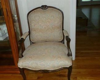 Wood framed arm chair (one of a pair)