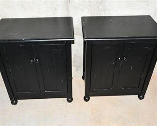 1. Pair Black Finish Wooden Storage Cupboards