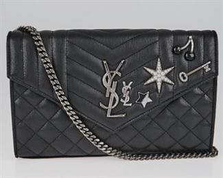 YSL - Quilted Black Leather Embellished Monogramme Envelope Chain Wallet