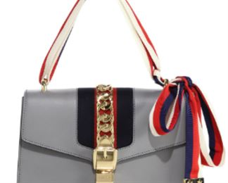 Gucci - Mini Sylvie Leather Shoulder Bag in Gray
