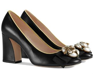 Gucci - Bee Embellished Leather Pumps, Size 39
