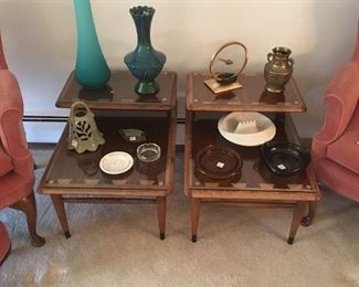 Mid century modern tables SOLD), ashtrays and vases
