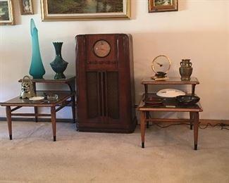 MCM tables are sold, silvertone radio, retro vases and ashtrays
