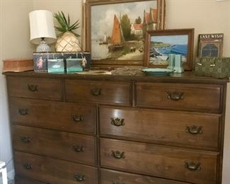 nine drawer walnut dresser