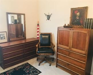 mid century walnut dresser and gentleman's chest, also have matching night stand