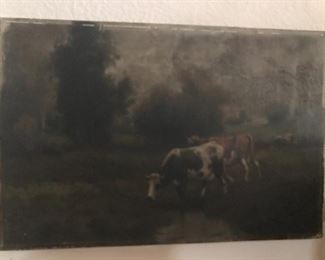 very old oil on canvas, contented cows