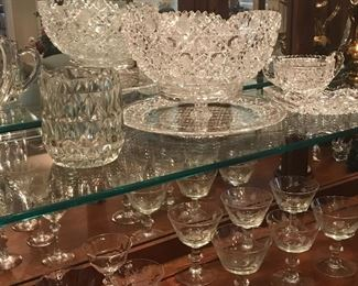 brilliant cut glass, nice mid century glassware and barware