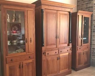 Custom made cabinetry. These are some of the finest made pieces you will ever find by local craftsman. end pieces and join together to make an entirely different cabinet.  You have some options here