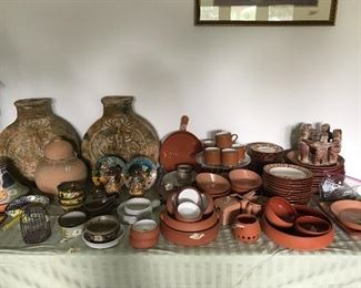 Pottery barn dishes, handmade pottery, Mexican vases