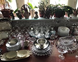 Vintage glass and silverplate, Mexican lladros