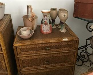 Handmade pottery, end table with drawers