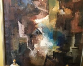 Vintage abstract oil on canvas