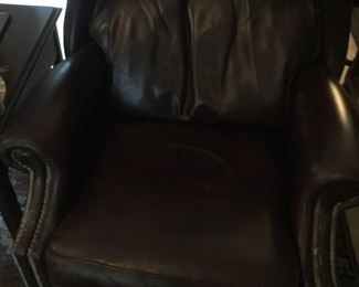 One of a pair of leather recliners