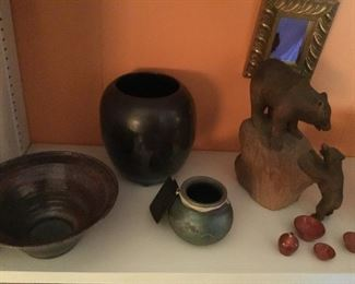 More rake pottery, carved bears and some miniature NC pottery.