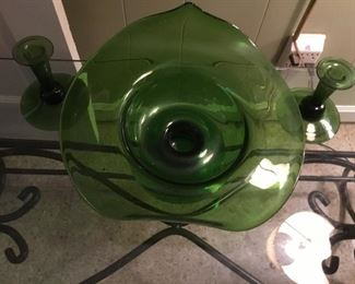 Wonderful art glass center bowl and matching candlesticks.