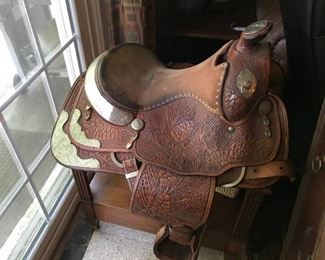 Hand tooled Mexican saddle with silver mounts