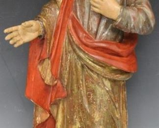 "LOT #7003 - POLYCHROME PAINTED SANTOS FIGURE, 17"" H"
