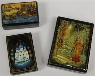 LOT #7000 - LOT OF (3) RUSSIAN ENAMELED BOXES