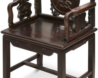 LOT #7006 - CHINESE CARVED ROSEWOOD ARM CHAIR, 19TH C.