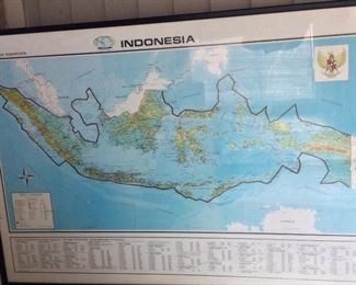Framed Map of Indonesia.