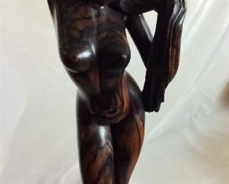"Wood Carved Nude, 28 1/2"" H."