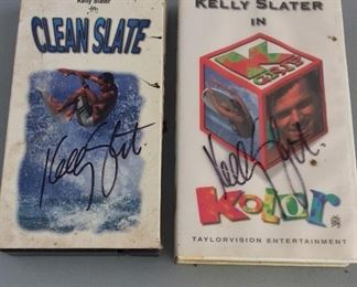 Clean Slate and Kelly Slater in Kolor Surfing VHS Tapes signed by Kelly Slater.
