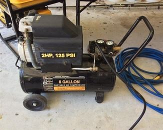 Central Pneumatic 8 Gallon Portable Air Compressor, Model 67501, 2HP, 125 psi.