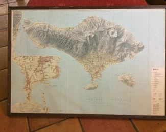 "Framed Map of Bali 40"" x 28""."