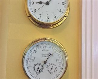 "Weems & Plath Brass Clock and Barometer, 6"" diameter."