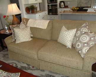Upholstered two cushion sofa