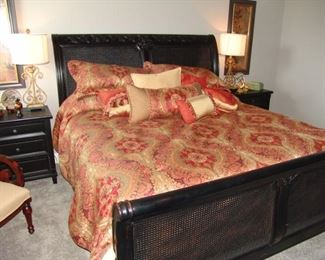 Nice black painted king size sleigh bed and matching night stands