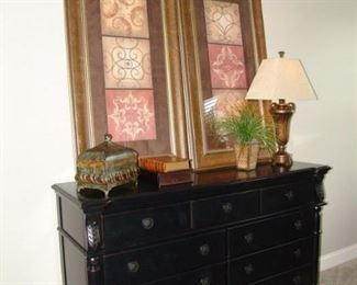 Black painted dresser and mirror