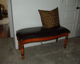 Leatherette upholstered bench