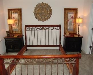 Queen size sleigh bed, metal and wood