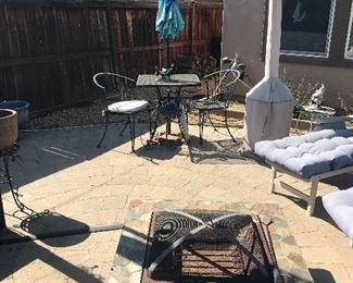 Two seat patio set/ Firepit