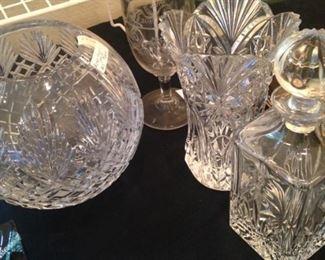 Rose bowl, vases, decanter