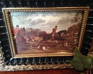 Beautifully framed English hunt scene art