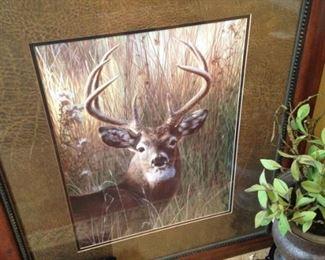 Framed deer art
