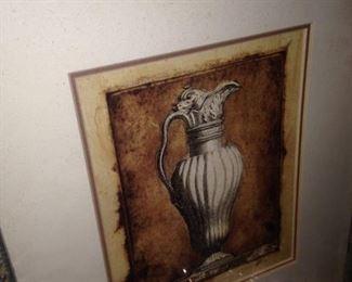 Silver framed art