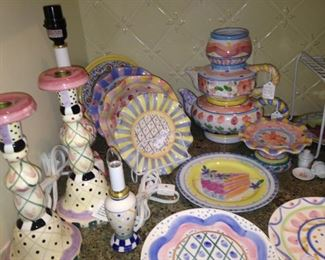 Lamps, plates, bowls, etc. (A few are MacKenzie Childs.)