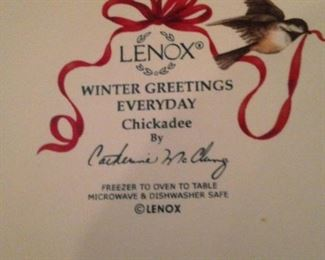 """Lenox """"Winter Greetings"""" dishes"""