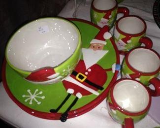 Santa plates, bowls, and mugs