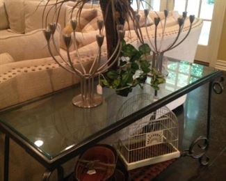Glass top sofa table; matching candleholders