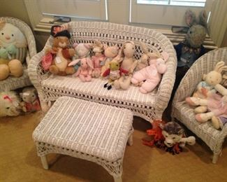 Child's precious white wicker settee, chairs, and table