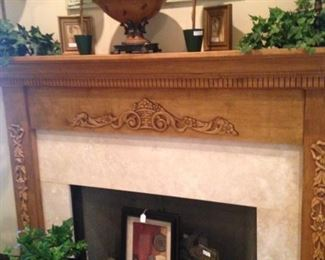 One of the three fireplaces; miscellaneous decor