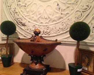 Mantel decor; small topiaries