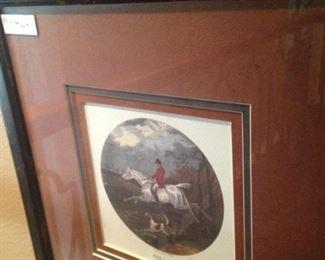 Framed and matted hunt scene art